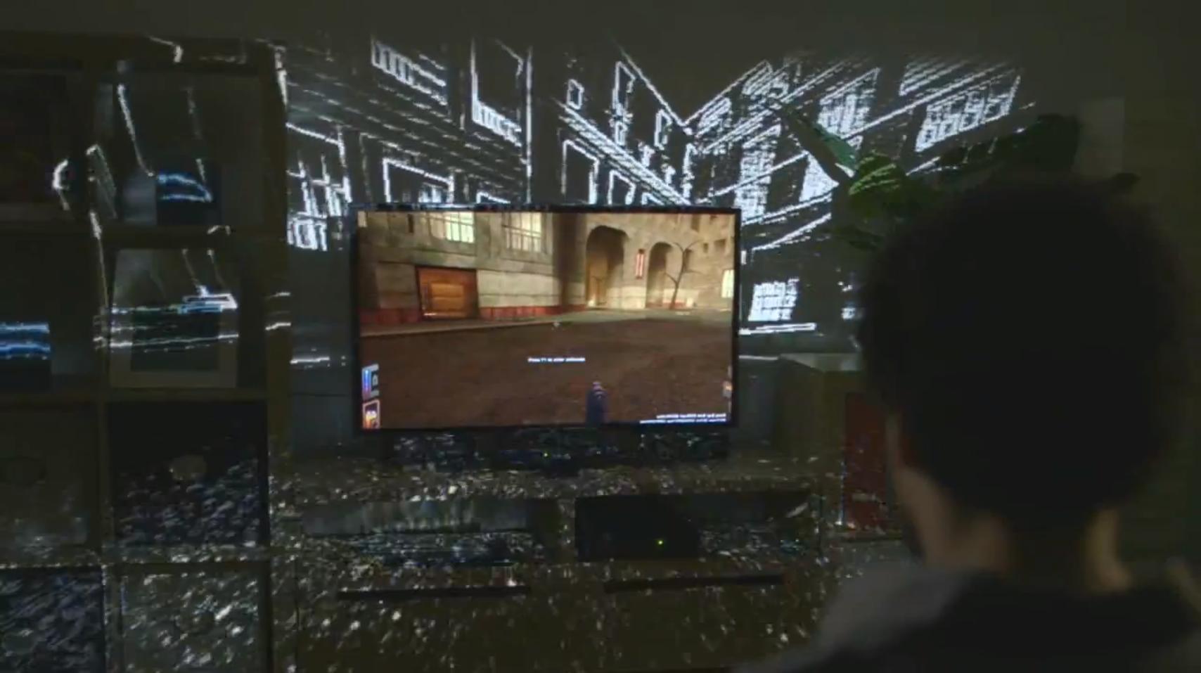 마이크로소프트 리서치의 일루미룸(IllumiRoom) 프로젝트 (출처: 마이크로소프트 리서치 @유튜브)
