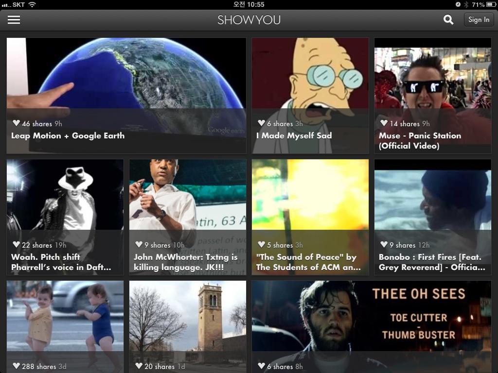 아이패드 비디오 디스커버리 앱, 쇼유(ShowYou)