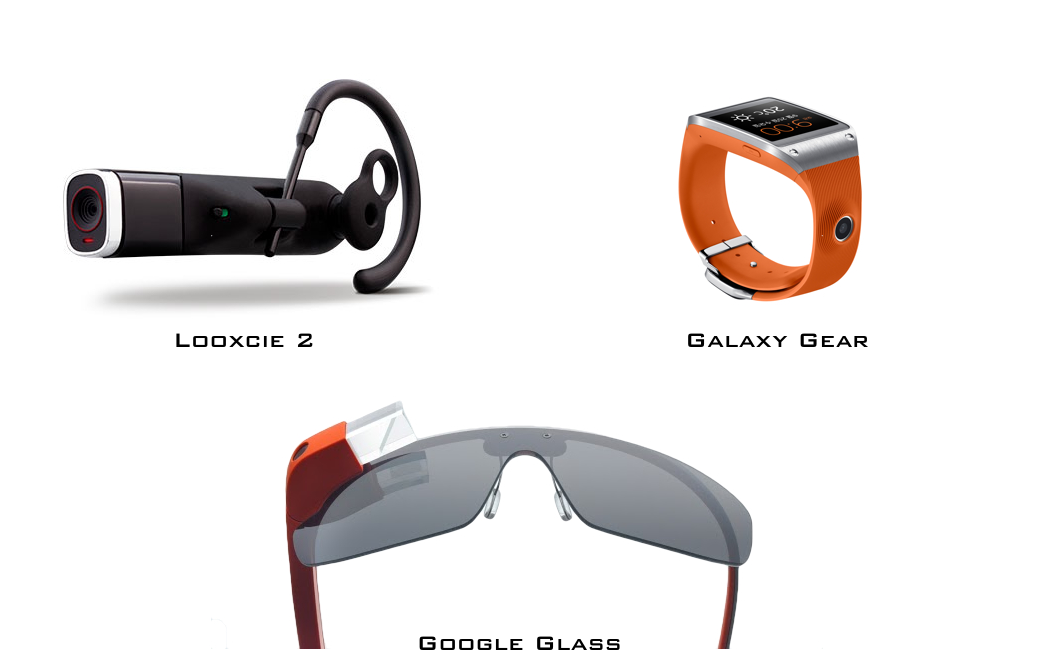 웨어러블 핸즈프리 카메라 기능의 예. 왼쪽 위부터, 룩시 2(사진 출처: 룩시), 삼성 갤럭시 기어(사진 출처: 삼성), 구글 글래스(사진 출처: 구글)