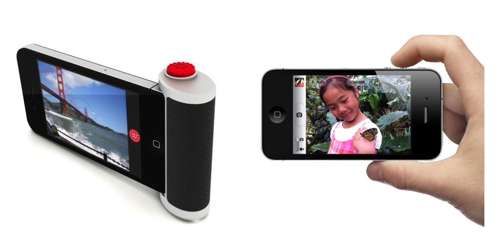 왼쪽: '레드 팝' 아이폰 액세서리, 오른쪽: 아이폰 볼륨업 키의 셔터 기능