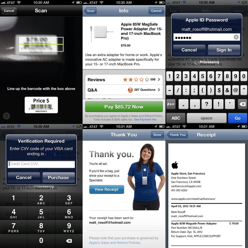 애플 스토어 앱의 이지페이 프로세스 예 (출처: 비즈니스 인사이더)