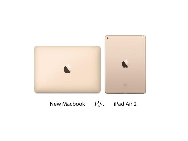 뉴 맥북과 아이패드 에어 2의 크기 비교